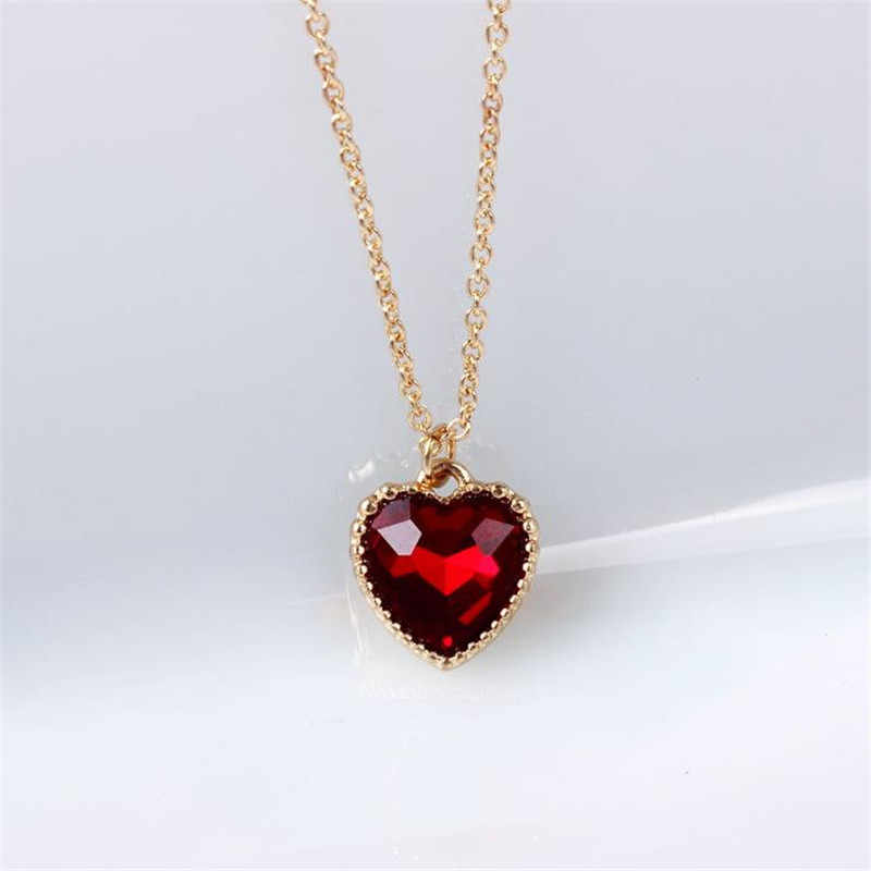 The New Love / Heart Necklace Jewelry Source Factory Wholesale Original Soft Meng Sister Red Glass Clavicle Chain