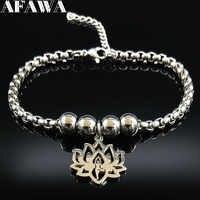 2019 Yoga Lotus Edelstahl Charme Armband Frauen Silber Farbe Perle Armband Cuir Schmuck brazaletes pulseras mujer B18284