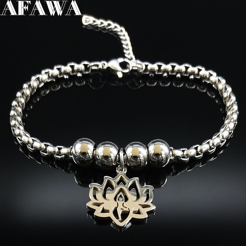 2019 Yoga Lotus Stainless Steel Charm Bracelet Women Silver Color Bead Bracelet Cuir Jewelry brazaletes pulseras mujer B18284 in Chain Link Bracelets from Jewelry Accessories
