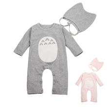 Infant Romper Set 100% Cotton Soft Vetement New Born Outfits Elastic Hat+Baby Cartoon Costume 2 Pieces Totoro Infant Romper Set