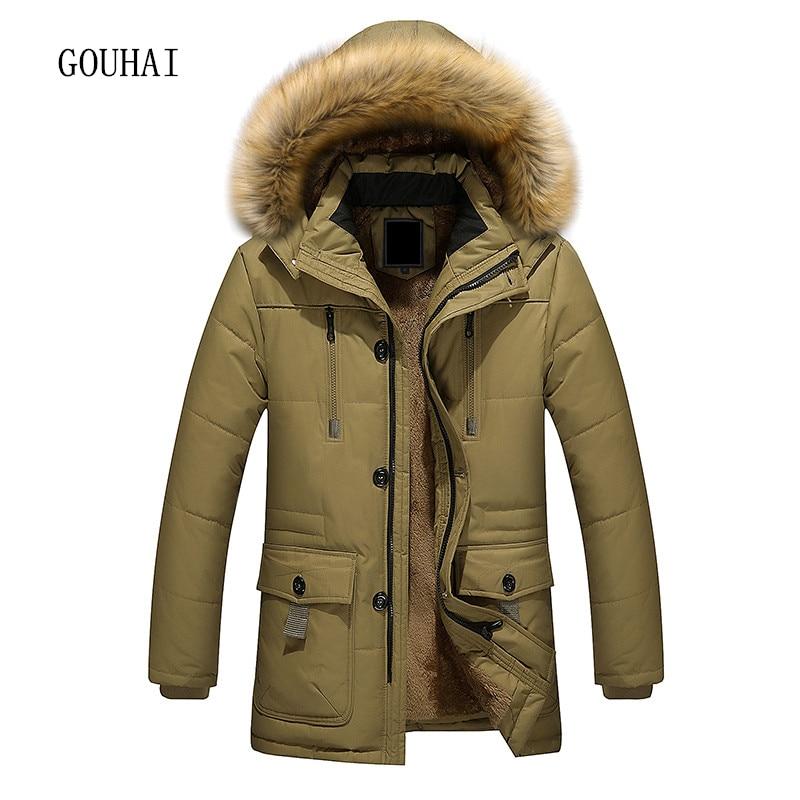 2017 Long Men Parkas Hooded Cotton Thick Warm Winter Jacket Men Plus Size M-5XL Brand Clothing Mens Coat Fur Collar Overcoats