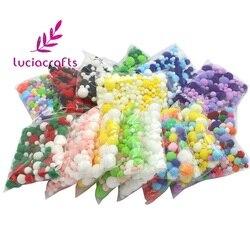 Lucia artesanato 20g sortidas pom poms cor misturada pompons macios diy artesanal crianças brinquedos acessórios de costura j0601