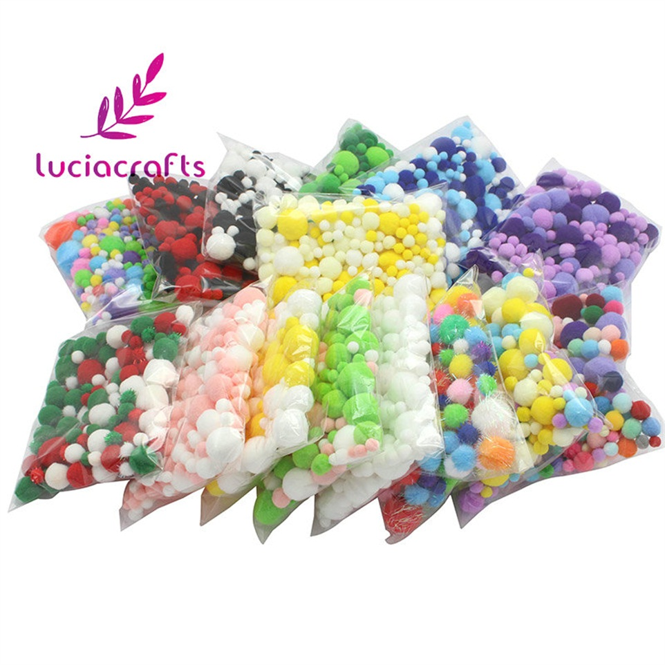 Lucia Crafts 20g Assorted Pom Poms Mixed Color Soft Pompoms DIY Handmade Kids Toys Sewing Accessories 22010037
