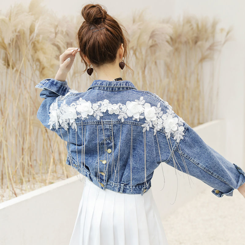 2019 Spring Autumn Floral Appliques Tassel Women Short Demin Jacket Korean Casual Chains Loose Femme Short Jean Coat Female Tops