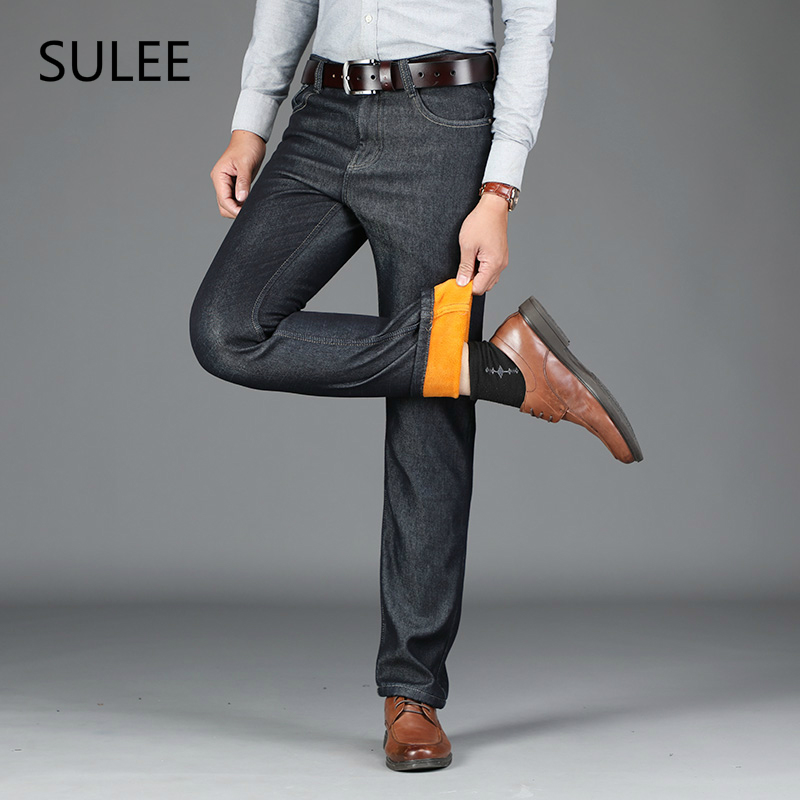 SULEE Brand Men Winter Thick Warm Fleece Denim Jeans Mens Keep Warm Overalls Trousers Washed Wool Pants Plus Size