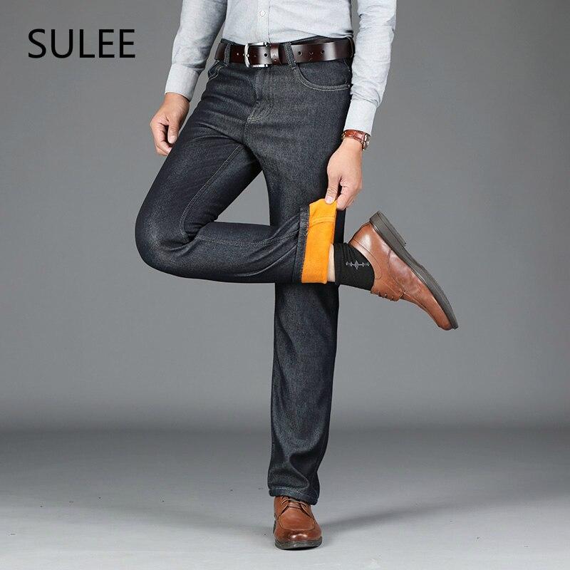 SULEE Marke Männer Winter Dicke Warme Fleece Denim Jeans Herren Halten Warme Overalls Hosen Gewaschen Wolle Hosen Plus Größe