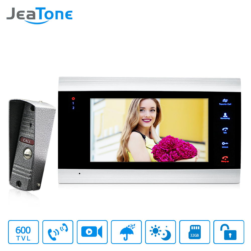 JeaTone 7 Inch Color LCD Video Intercoms Touch Button Monitor Home Security System Waterproof Mini Doorbell Camera 600TVL Night