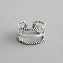 Vintage Old S925 Sterling Silver Open Ring Women Twist Three Wires Weave Retro Style Hollow Lady Rings Bijoux Femme цена 2017