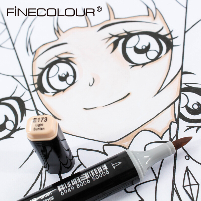 Finecolour 1PCS EF102 Elastic Soft Head Double-Headed Design Profession Manga Art Markers Pen Art Supplies For Drawing
