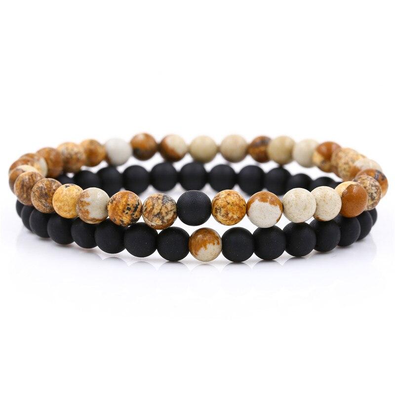 Купить комплект браслетов из натурального камня для влюбленных пар