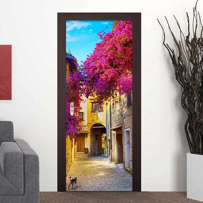 European Town Street 3D Photo Mural Wallpaper Restaurant Living Room Door Mural PVC Self-Adhesive Waterproof Vinyl Wallpaper 3 D