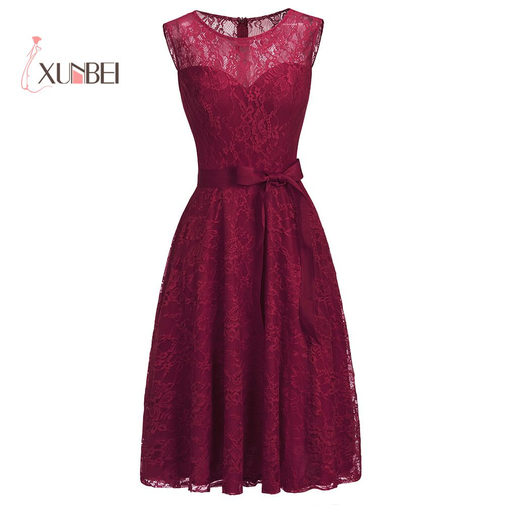 Sexy Burgundy Lace Short   Evening     Dresses   2019 Sleeveless Formal Prom   Dresses   Party Gown With Sash