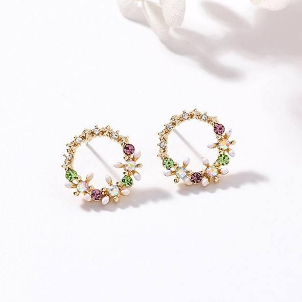 MENGJIQIAO 2018 Korean New Colorful Rhinestone Wreath Stud Earrings For Women Sweet Flower Shell Small Cirlce Brincos Gift 5