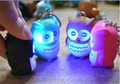 Novelty LED Owl light Luminous Keychain Sound/Voice Glowing Pendant Flash Creative Children Toy Gift for Lovers free shipping