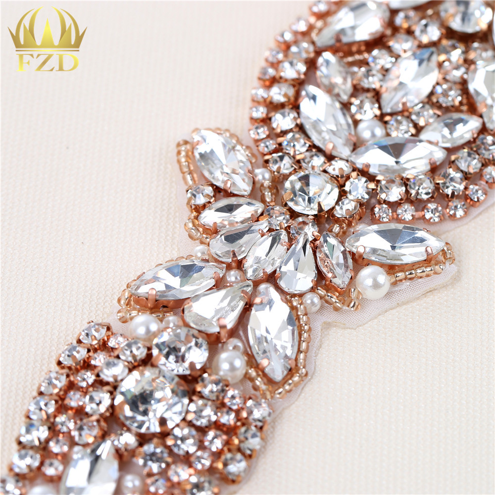 /(5 stücke/) großhandel Handgefertigte Hot Fix Strais Nähen Auf Diamante Rose Gold Perlen Applikationen für Hochzeit Kleider Gürtel