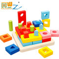 Montessori Material Colorful Wooden Shapes Match Games Geometry Pillars Blocks For Kids