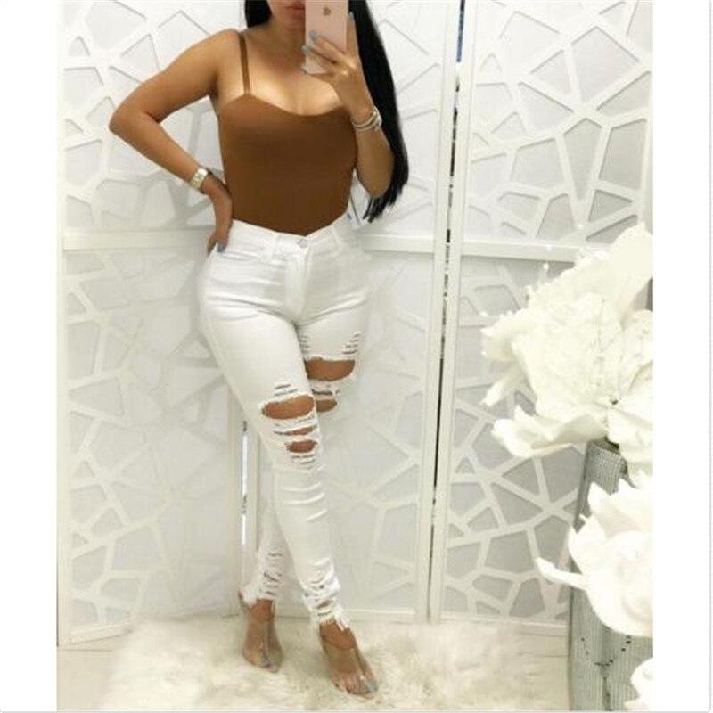 Summer Fashion White Hole Ripped   Jeans   Women Denim High Waist Pants Female Skinny Black Casual   Jeans