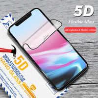 5D Verre Flexible Pour iPhone Xs Max Xr Film D'écran De Couverture Complète HD Incurvée Bord Doux Verre Protecteur Pour iPhone 11 Pro Max 8 7 Plus