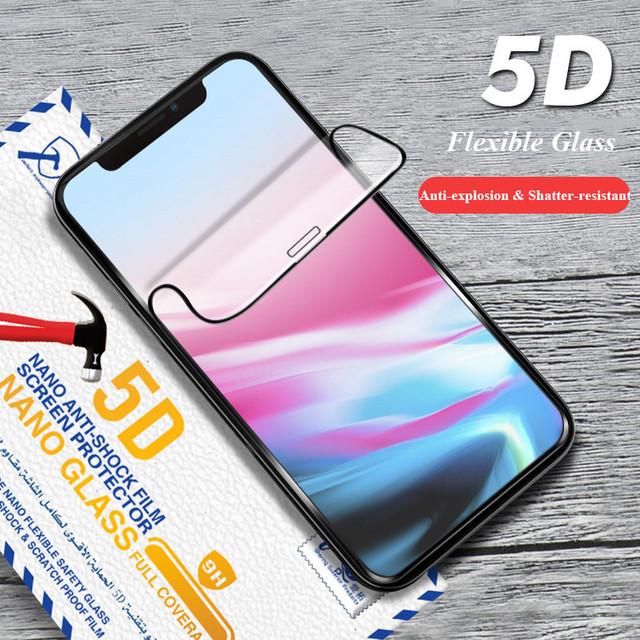 5D Flexible Glass For iPhone Xs Max Xr Screen Film Full Cover HD Curved Soft Edge Glass Protector For iPhone X iPhone 8 7 Plus