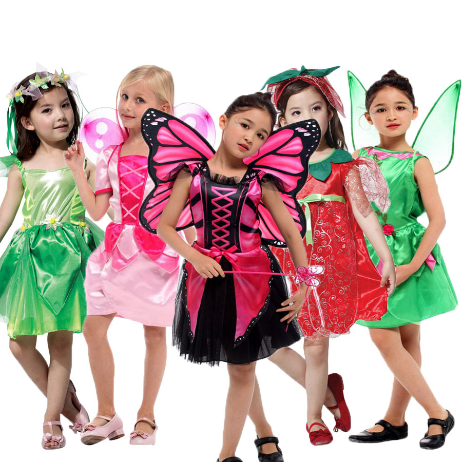Umorden Pink Butterfly Fairy Costumes Girls Kids Forest Woodland Green Elf Fairy Costume Cosplay Tinker Bell Dress for Girl индийский костюм для танцев девочек