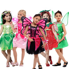 Umorden Ladybug Butterfly Fairy Costumes Girls Kids Forest Woodland Green Elf Costume Cosplay Tinker Bell Dress for Girl