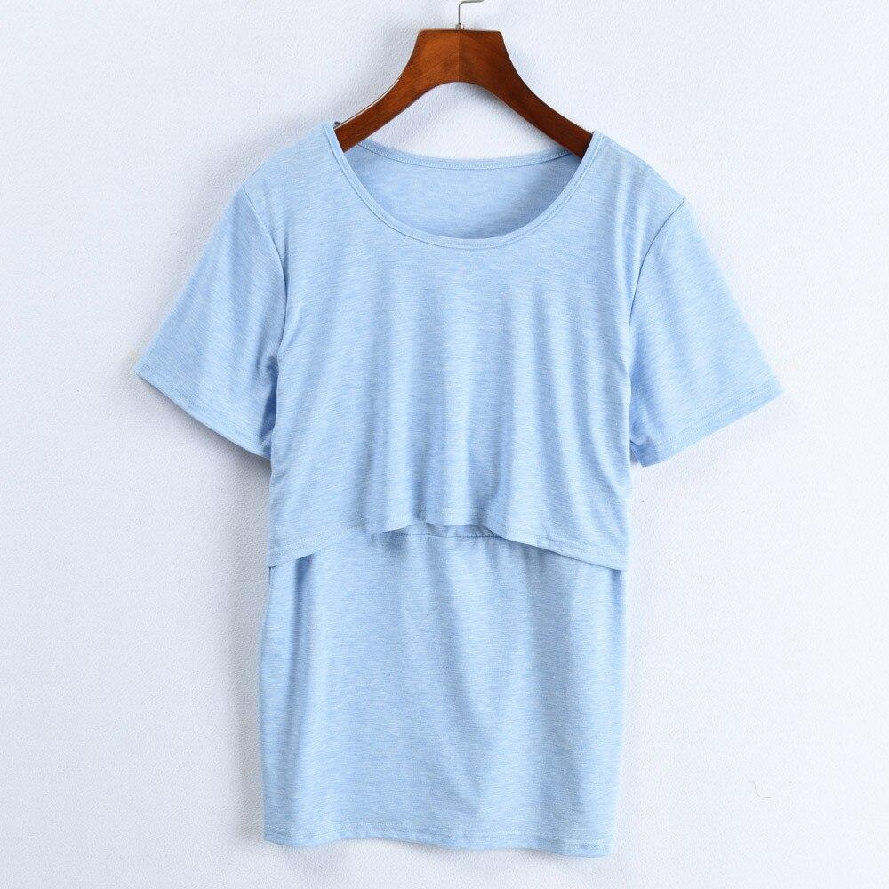 Telotuny Fashion Maternity Clothing T-shirt Women Loose Nursing Wrap Double Layer Short Sleeve Blouse T Shirt JU 21