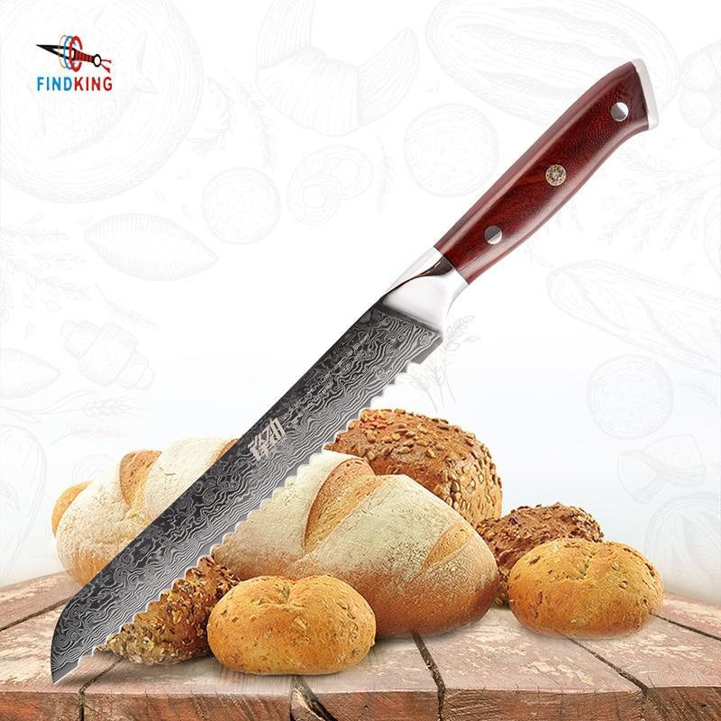 FINDKING AUS 10 In Acciaio di Damasco In Legno di Palissandro Maniglia di Damasco Damasco Lama di 8 pollici coltello da Pane 67 strati coltelli da cucina per pane tostato-in Coltelli da cucina da Casa e giardino su  Gruppo 1