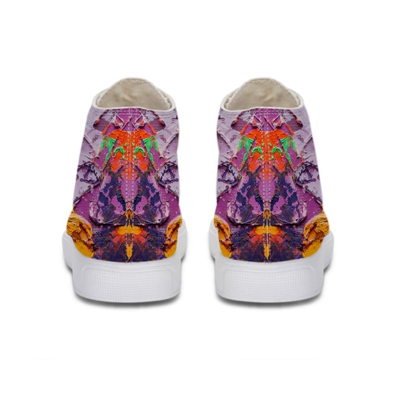 Casual Respirant Chaussures bleu Your Caoutchouc Image or Semelle En Here Plat peint Mode 3d Main Luxuury Toile Top pourpre High Lacent Impression Femmes EqxT7RaEw