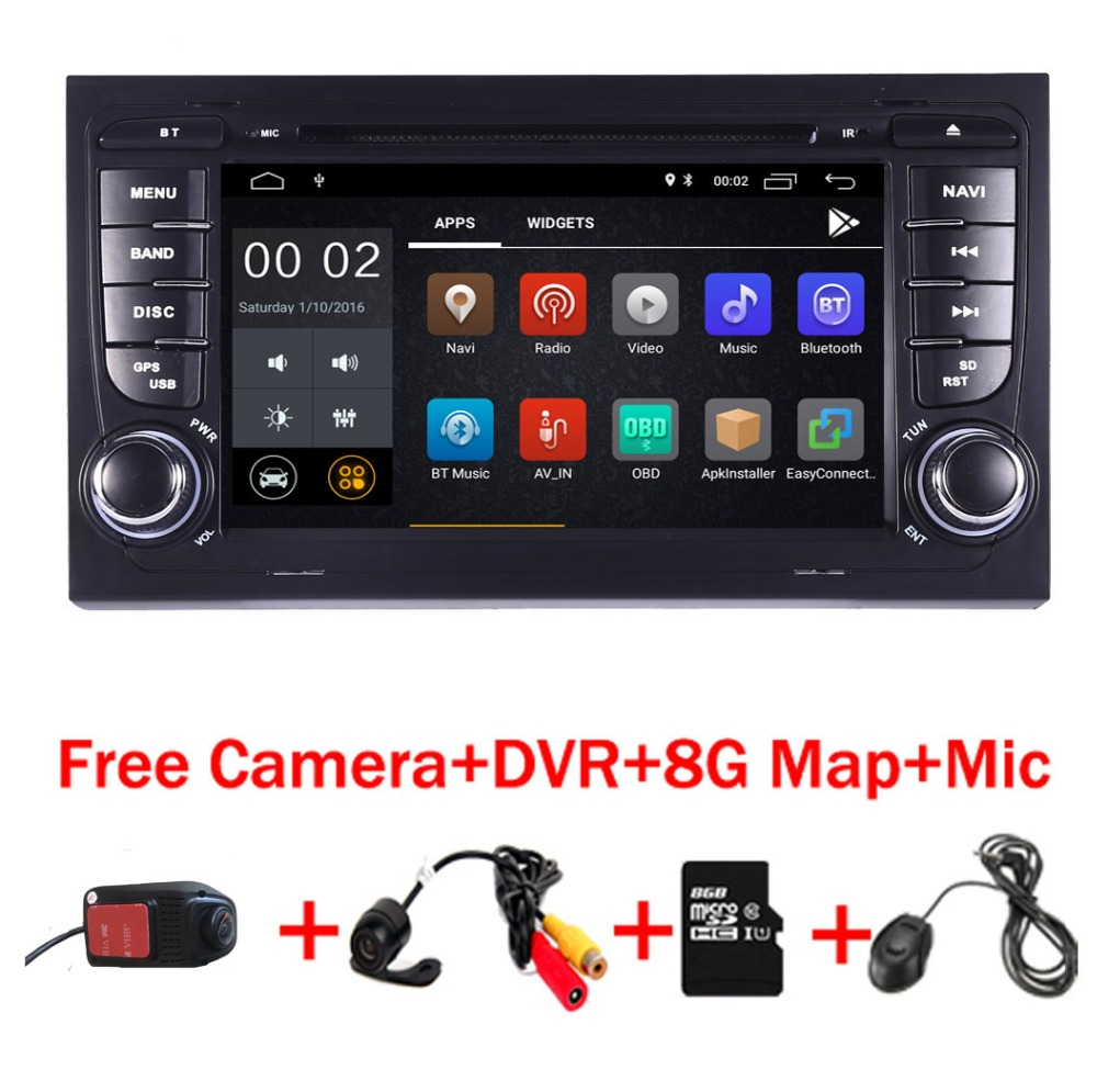 Android 8.1 autoradio dvd gps pour Audi A4 S4 GPS Navigation GPS radio WiFi 4/3g OBD bluetooth Miroir lien Commande Au Volant