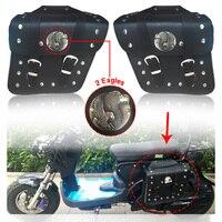 2pcs Universal Motorcycle PU Leather Side Saddlebag Luggage Saddle Bag Black for Harley