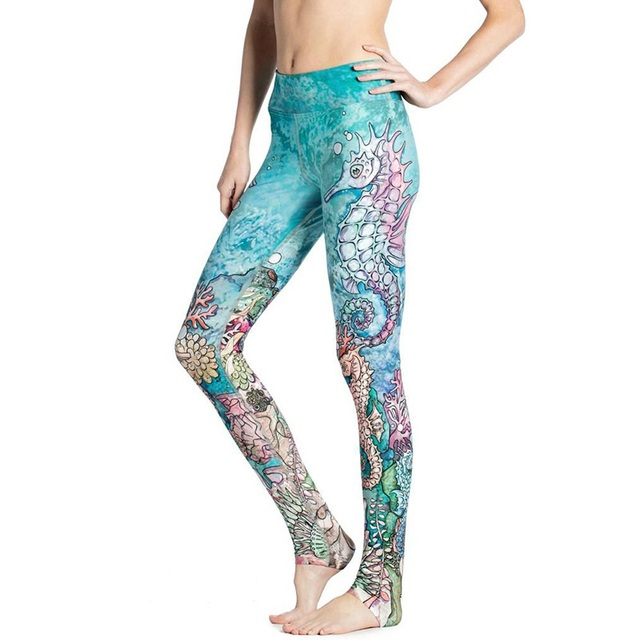 2017 New Fall winter Sky Blue Ocean sea animal Seahorse 3D digital printing  Yoga Pants skinny 71af64d65d8