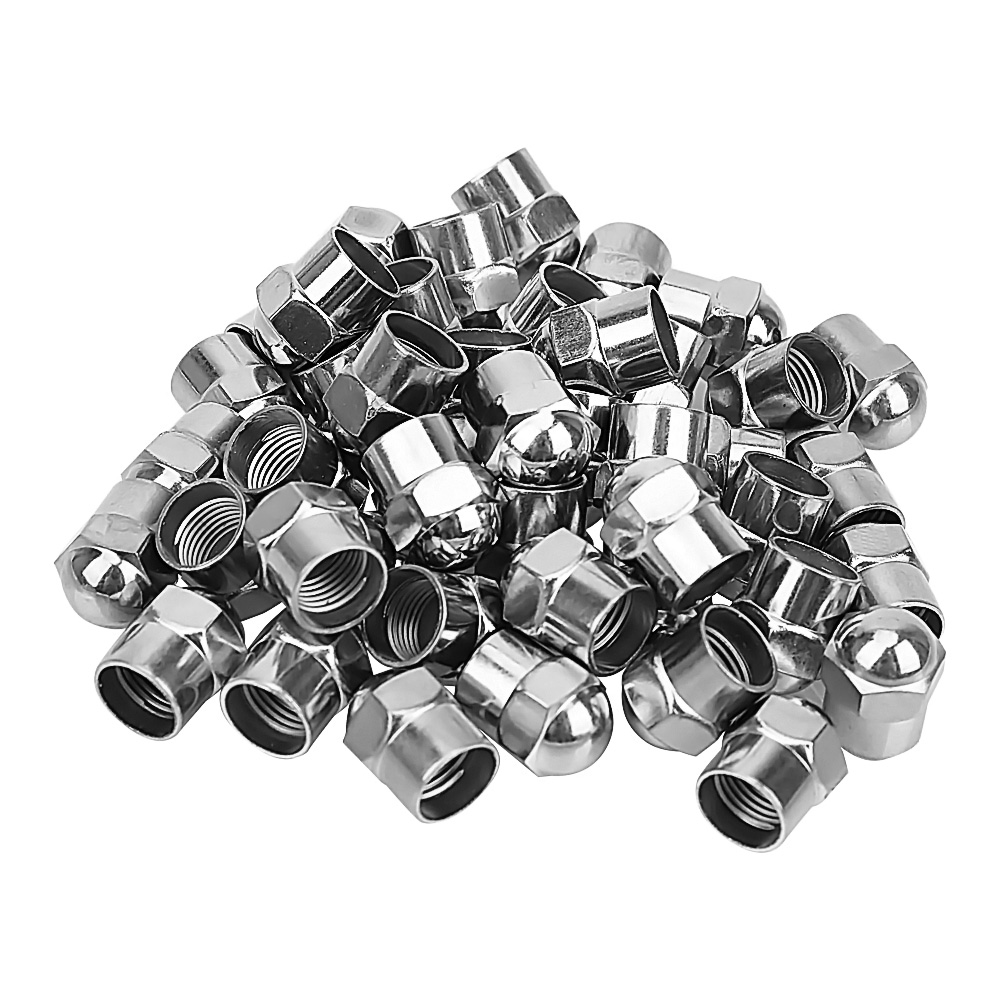 100Pcs Car Wheel Tire Valve Stem Cap Motorcycle Round Head Tyre Air Pressure Cap Airtight Cover Chrome Plated Tire Accessories