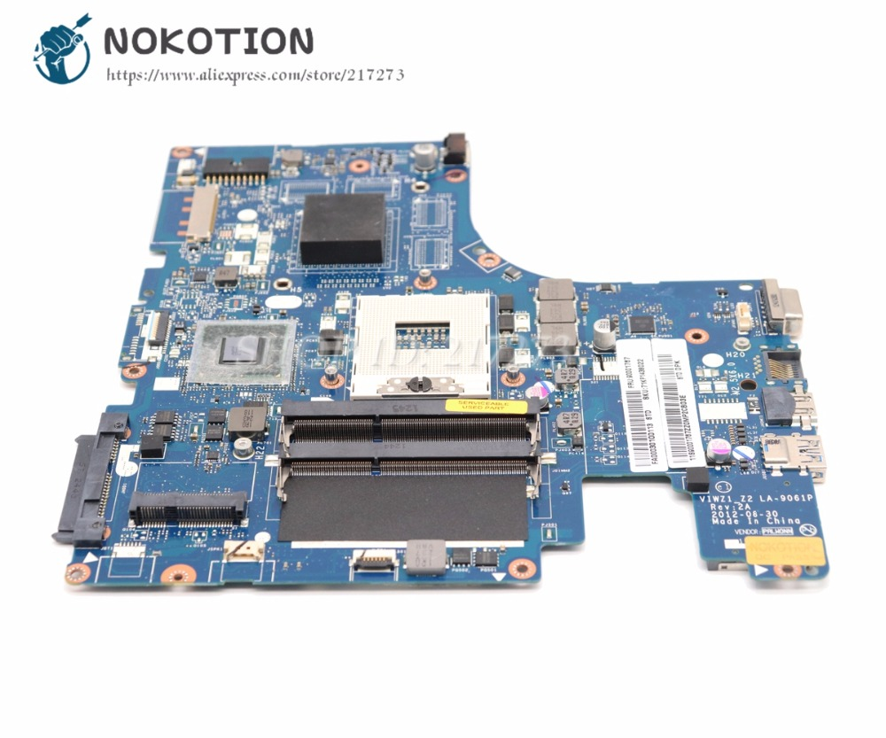 NOKOTION For Lenovo Ideapad Z500 Laptop Motherboard VIWZ1 Z2 LA-9061P Main Board HM76 DDR3 (DVD Connector 10PIN)
