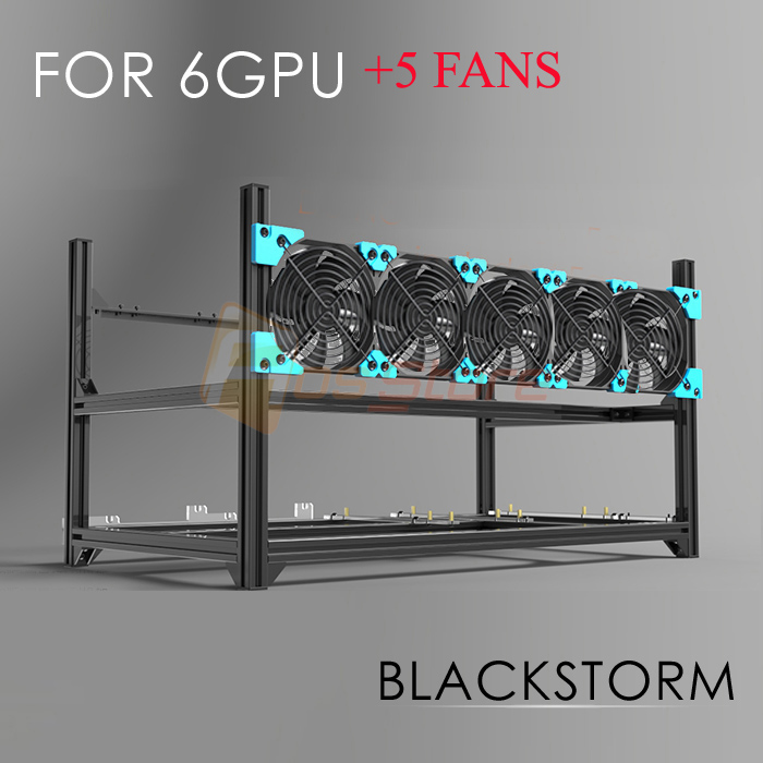 6 GPU 5 FANS Miner Mining Rig Aluminum Stackable Open air Mining Case Computer ETH Frame Rig for bitcon Miner Kit Ethereum ガーミン ストライカー プラス 7sv