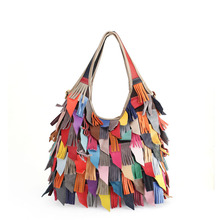 Real Cow Leather Spliced Tassel Fringe Bag Women Single Shoulder Bag Color Belt Unique Personality Ladies Handbag Hot Pop Tote two tone spliced tote bag