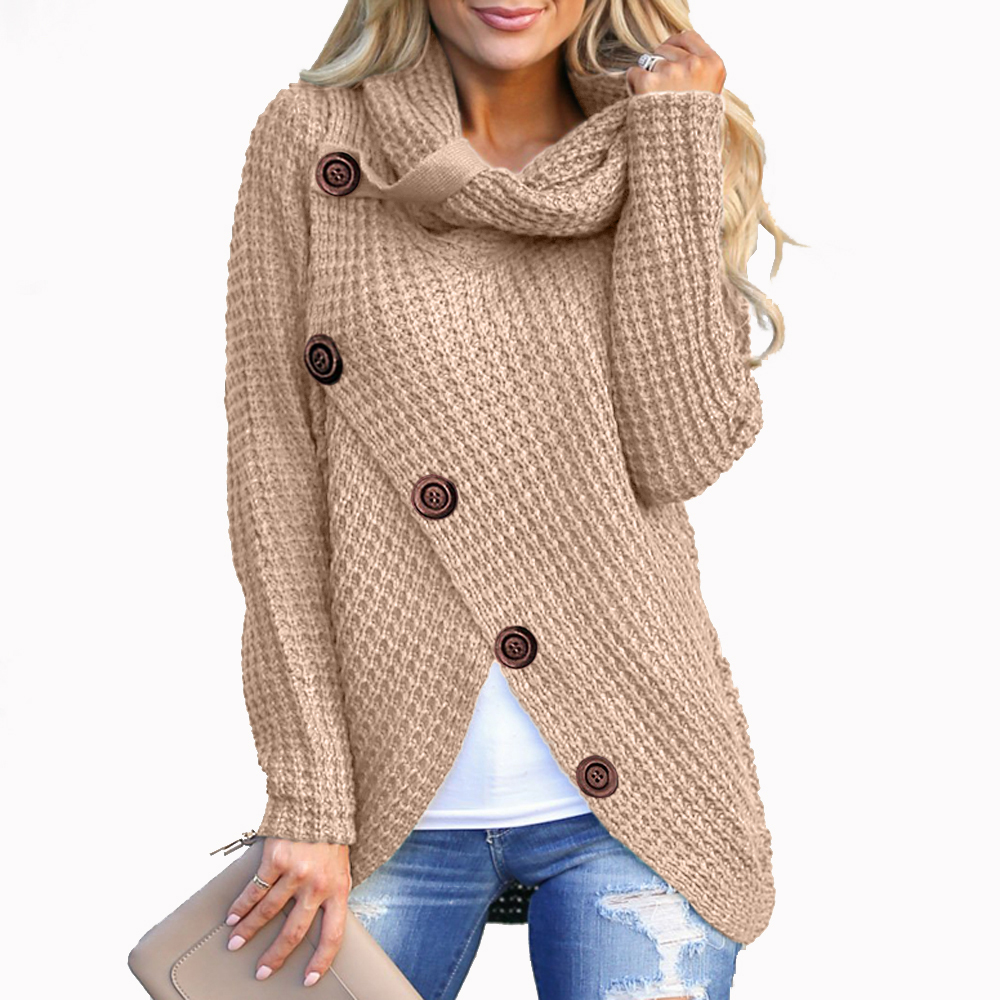 Casual Blouses Shirts Buttons Tops Ladies Knitted Long-Sleeve Female Women Solid Turn-Down-Collar