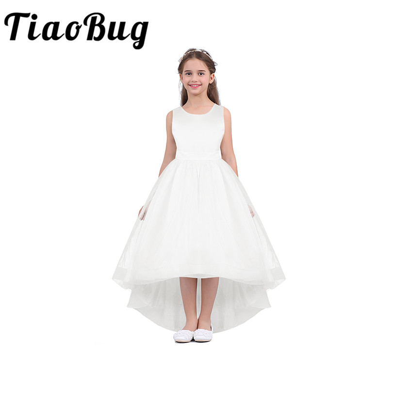Wedding Flower Girls High Low Dress For Kids Pageant Birthday Communion Party