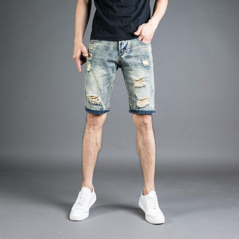 6207e2e74a2dc Летние модные мужские джинсовые шорты masculina винтажный дизайн хлопковые джинсовые  шорты мужские джинсы DSEL рваные короткие