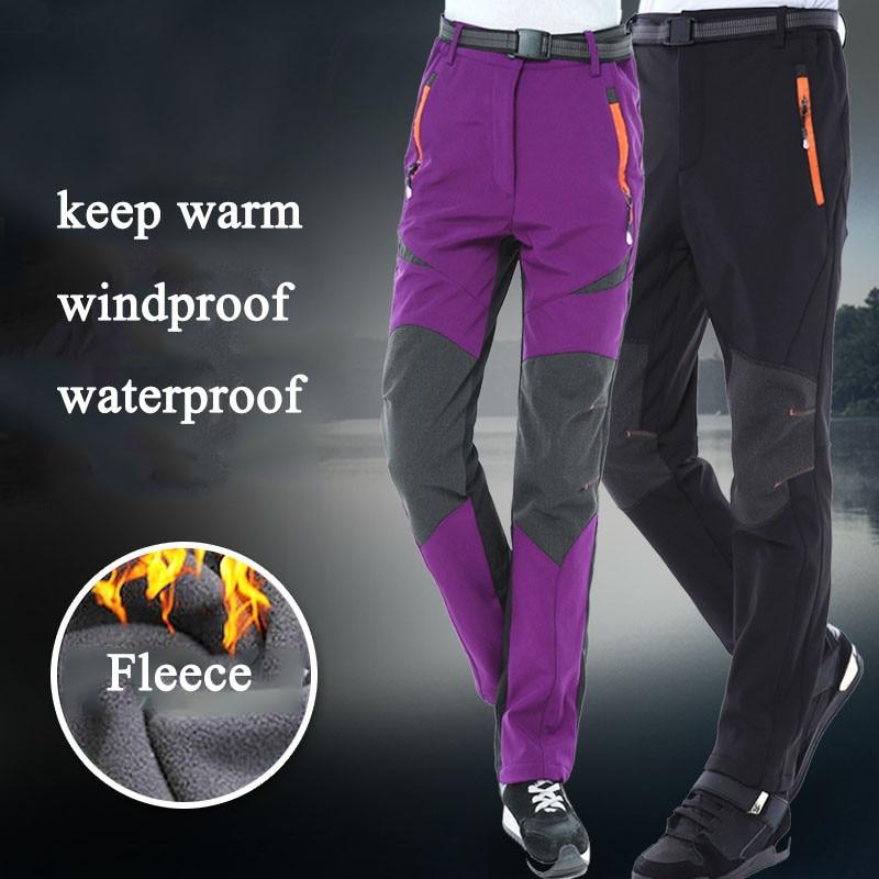Зимние штаны для сноуборда, лыжного спорта для мужчин и женщин, треккинговые флисовые зимние штаны для рыбалки, кемпинга, походов, лыжного с