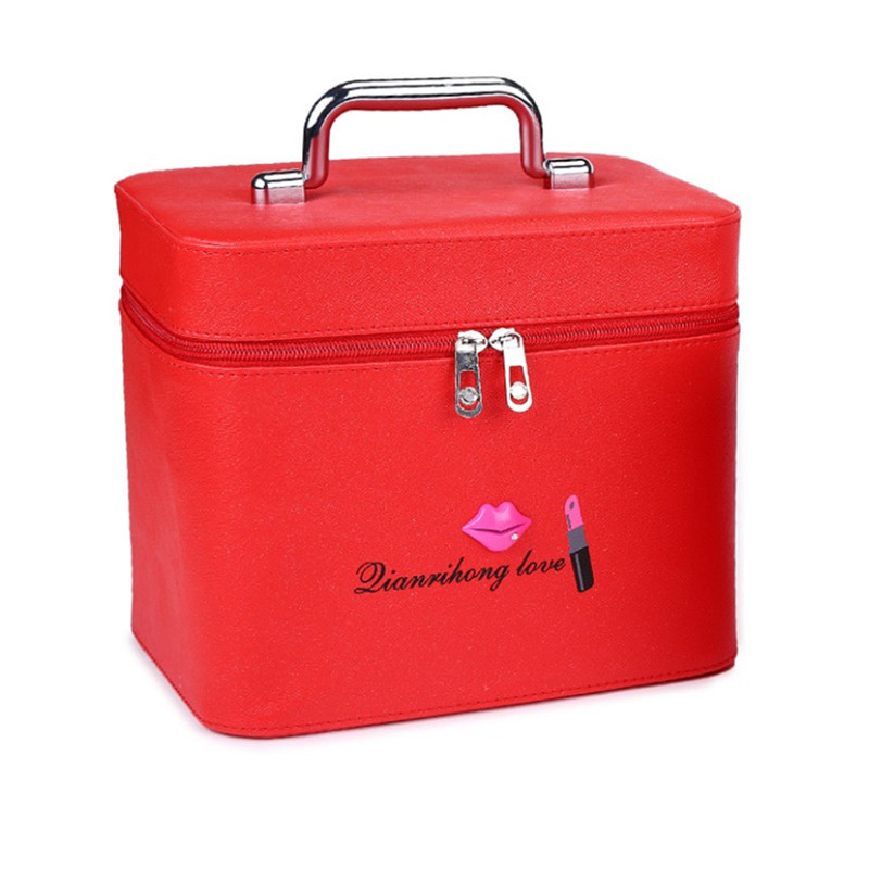 new womens beautiful lips printing makeup box fashion creative and easy to carry handkerchief cosmetic case handbag organizer