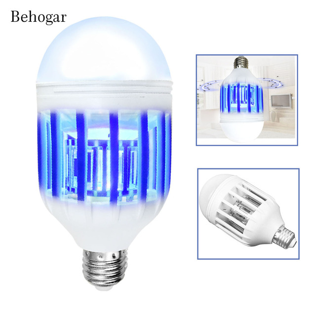 Behogar 2 In 1 Electric LED Night Light Bug Zapper Bulb Mosquito Repellent  Killer