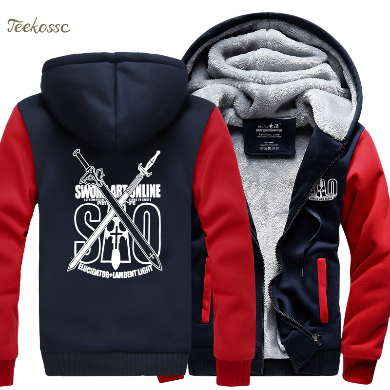 Anime Sword Art Online S A O Sweatshirt Men 2018 Winter Fleece Zipper Hooded Thick Hoodie Mens Japan Hoodie Coat Men 39 s Tracksuit in Hoodies amp Sweatshirts from Men 39 s Clothing