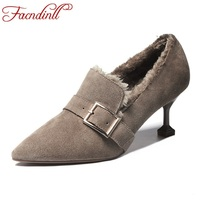 FACNDINLL Genuine Leather Women Pumps Shoes New Sexy Thick High Heels Pointed Toe Shoes Woman Dress
