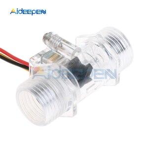 """Image 4 - Interruptor de Sensor de flujo de agua G1/2 """"medidor de flujo de líquido Control de agua caja transparente DC 5 15V uso para calentadores de agua, etc"""