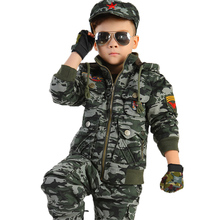 Scouting Military Boys Cotton Trousers Gloves Cap-Set Jacket Camouflage-Suits Training
