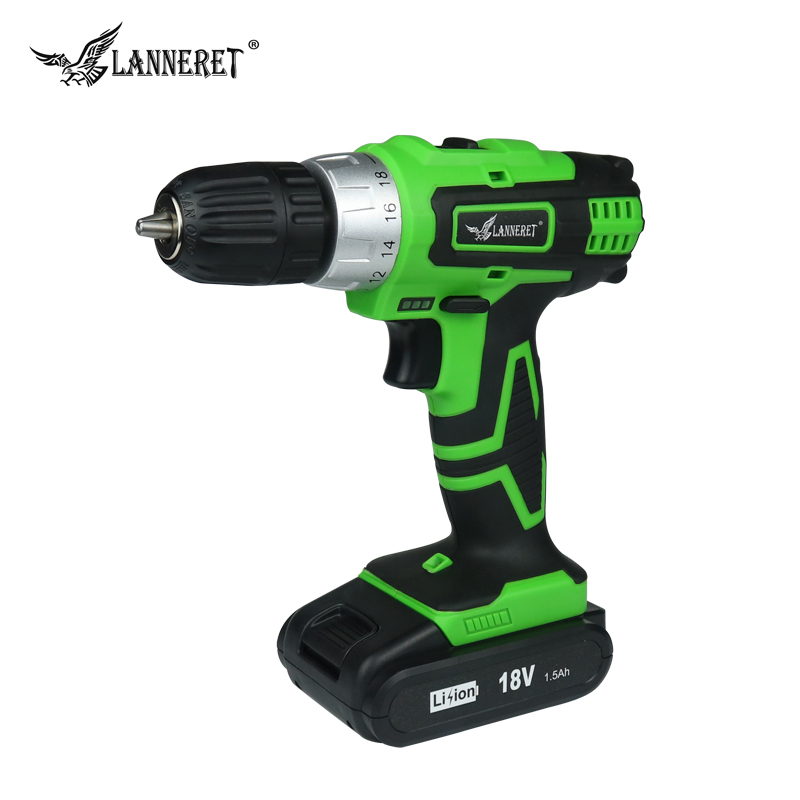 цена на LANNERET 18V Lithium-ion battery 2 speed Cordless drill Electric Screwdriver Household Rechargeable Drill Tools