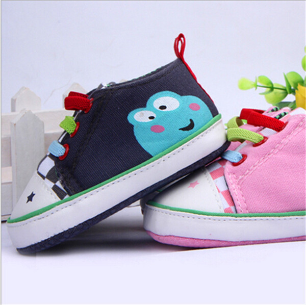 2015 Nye Baby Sko Soft Bottom Frog Print Design Kids Cotton First Walkers Baby Boys Girls Toddler Antislip Shoes
