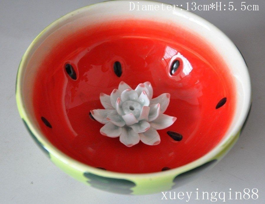 Tibet Buddhist temples Wucai Porcelain Carved Lotus watermelon <font><b>Buddha</b></font> Bowl <font><b>cup</b></font>