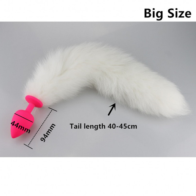 Big Size White Fox Silicone Anal Plug Tail Butt Plug Anal Sex Toys for Couples,Fox Tail Plug Bondage Adult Games Anal Toys