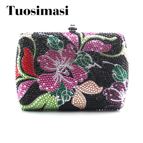 Women Flower Evening Hand Bag Crystal Dressed Clutch Bags Wedding Party Chain Purse Small Handbag Mini Day Clutches luxury real new arrival day clutches diamonds flower women bag banquet crystal handbag wedding party handbags night clubs purse